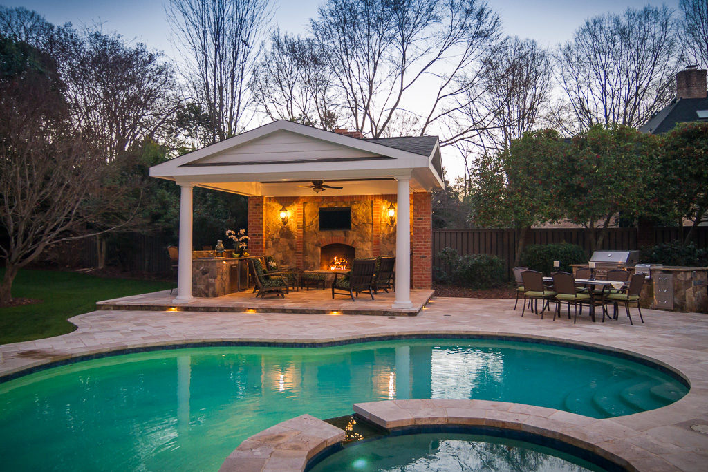 Outdoor Fireplace, Inground Pool and Covered Porch