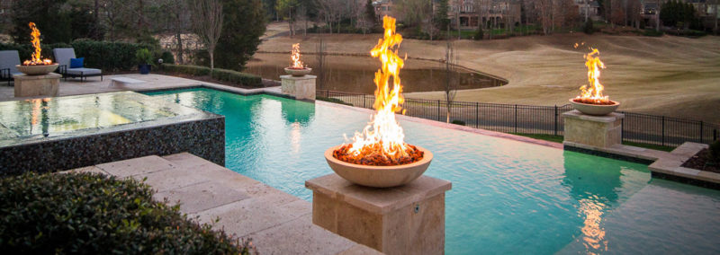 inground pools with fire bowls