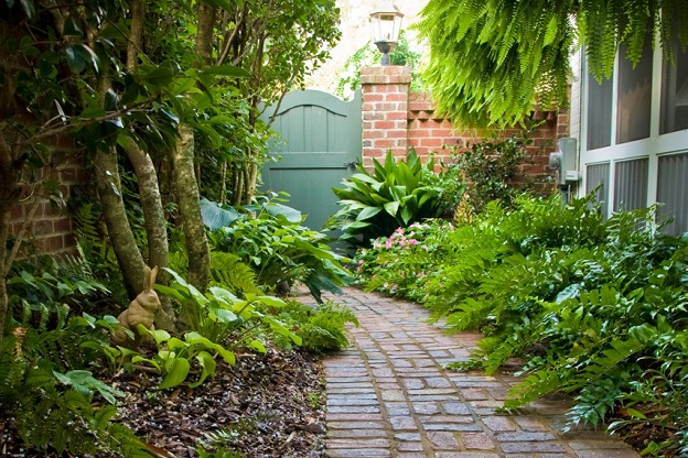Landscaped pathway to garden gate