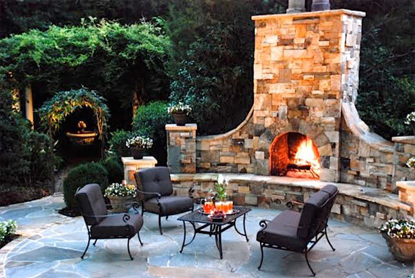Wood Burning Outdoor Fireplace With Gas Starter