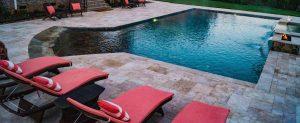 rectangular swimming pool, beach entry