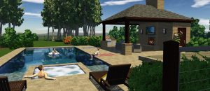 3d pool and spa design tanning ledge